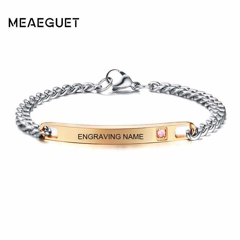 Women Charm Bracelet Bangle Persoanlized ID Pink Crystal Stone Curban Chain Custom Femme Braslet Valentine's Day Dropshipping