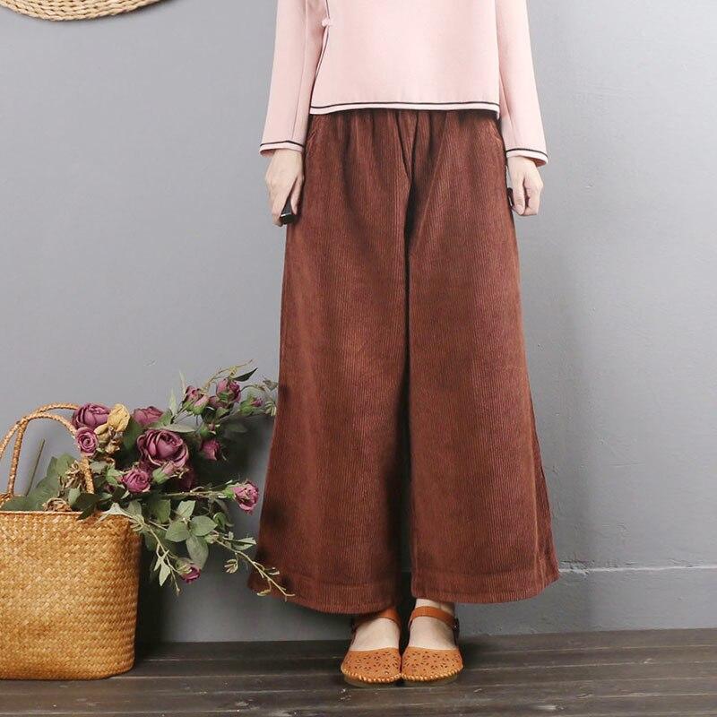 Fashion 2019 Autumn Winter Women Vintage Casual Loose Elastic Waist   Wide     Leg     Pants   Corduroy Trousers Pantalon Femme