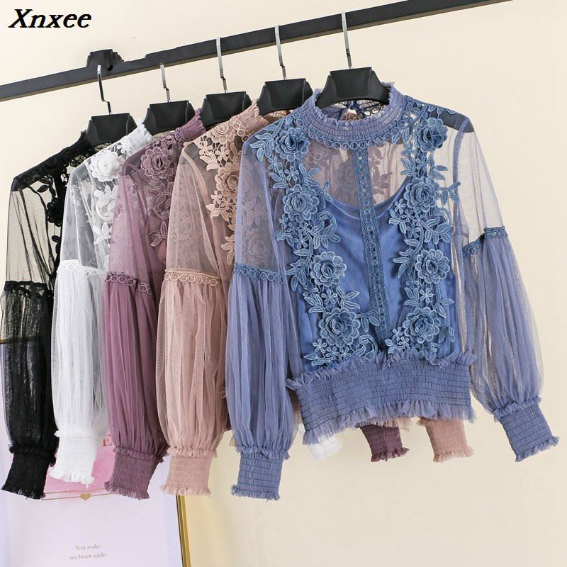 Xnxee 2019 Spring Autumn Women Tops Fashion Sexy Sheer Lace Blouse Lantern Sleeve Floral Shirt Elegant Top blusas femininas