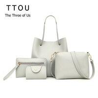 TTOU для женщин модная сумка из ПУ комплект 4 шт. женский повседневное Твердые Сумка Высокое качество композитный сумки Bolsa Feminina