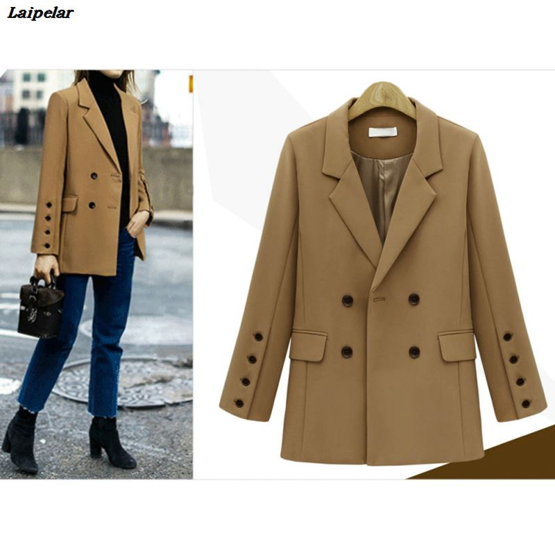 2019 Elegant New Fashion Womens Vintage Solid Long Sleeve Notched Cardigan Coat Formal Wear Tops Blouse Laipelar