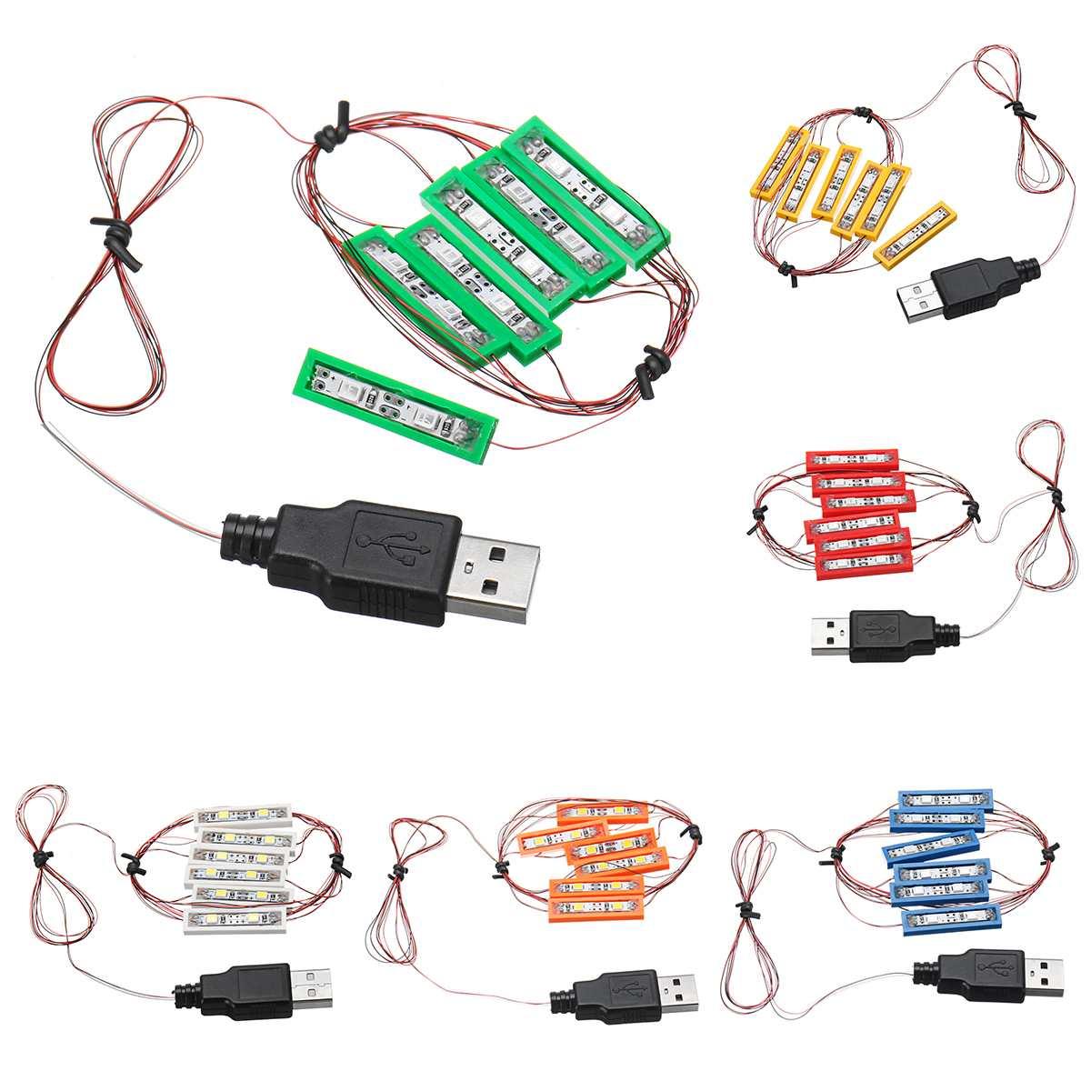 Kit de tijolos diy iluminação led universal para lego moc brinquedo tijolos brinquedo com porta usb 6 kit iluminação cor
