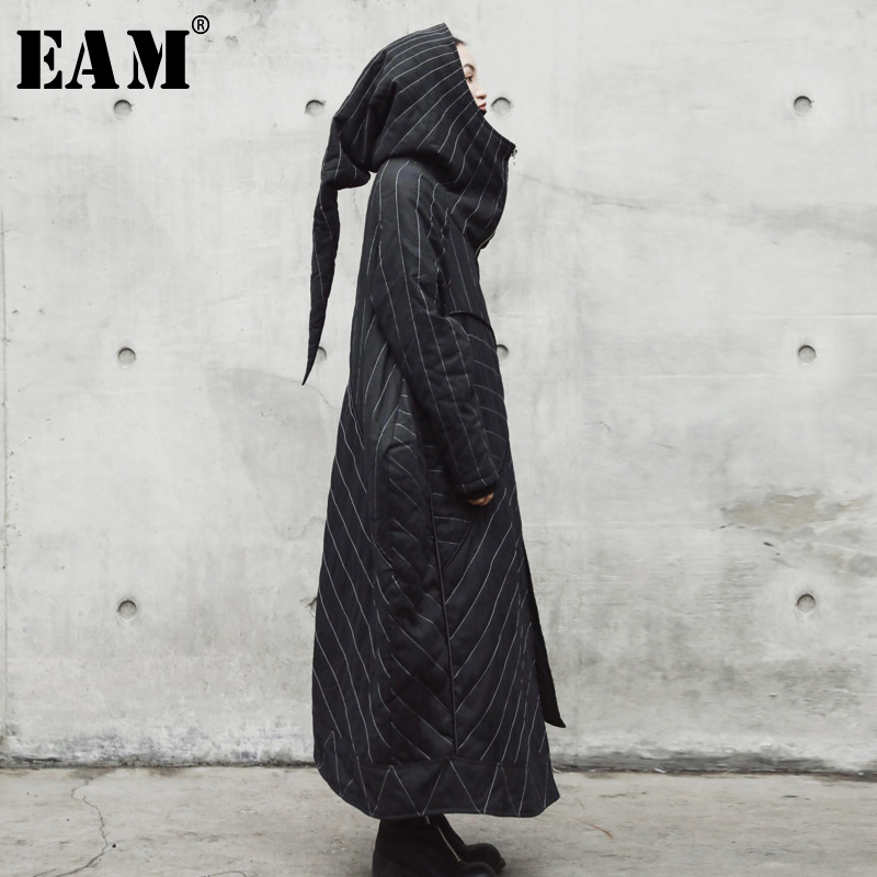 [EAM] Hooded Black Striped Split Joint Long Cotton-padded Coat Loose Fit Women   Parkas   Fashion New Spring Autumn 2020 JR501