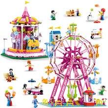 놀이 공원 관람차 빌딩 블록 도시 친구 회전 목마 DIY 벽돌 아이들을위한 모델 놀이터 소녀 장난감 선물