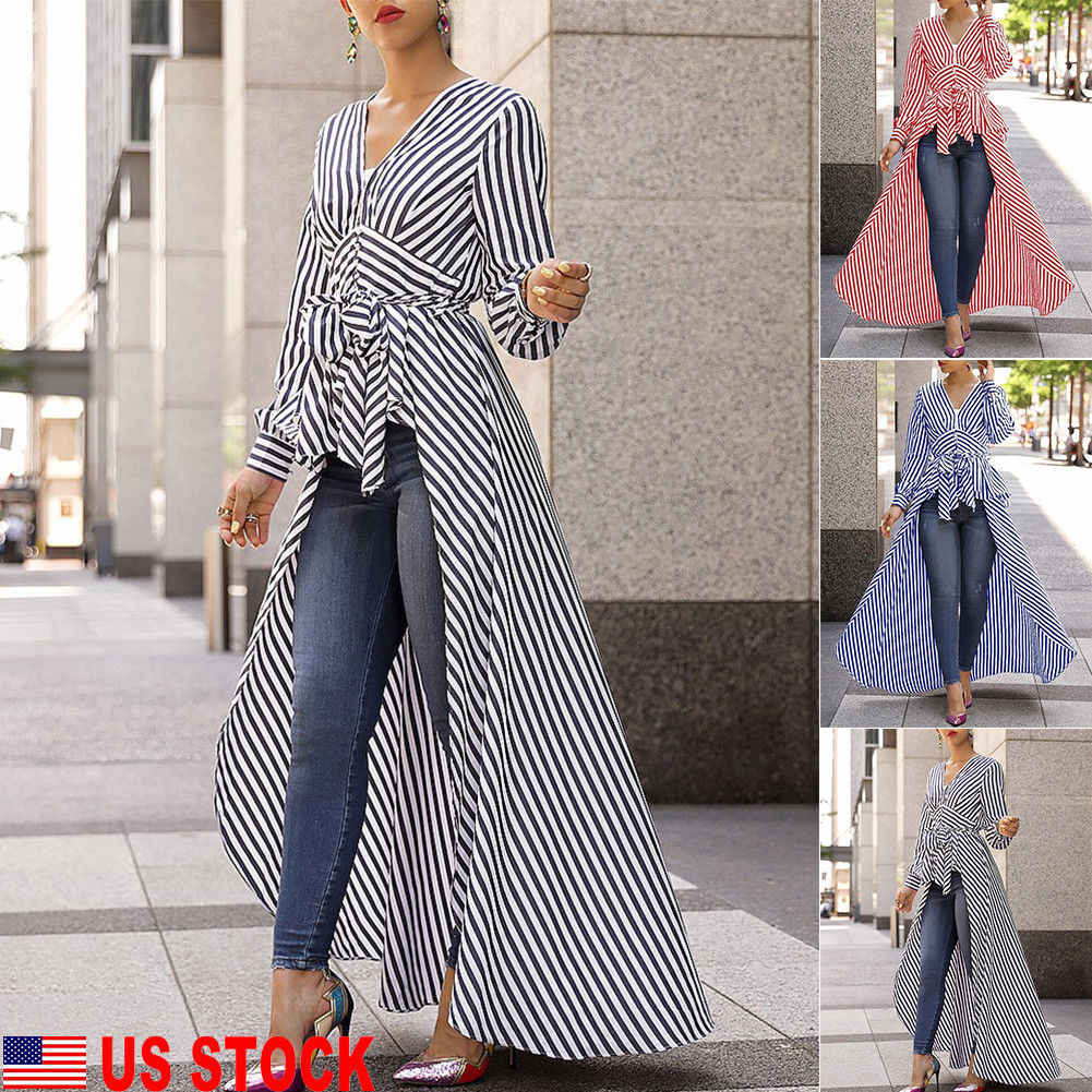 Women's Fashion Long Sleeve V-neck Tunic Tops Dress Casual Curve Ladies Striped V-neck Cotton Nolvelty Dresses Female Clothing