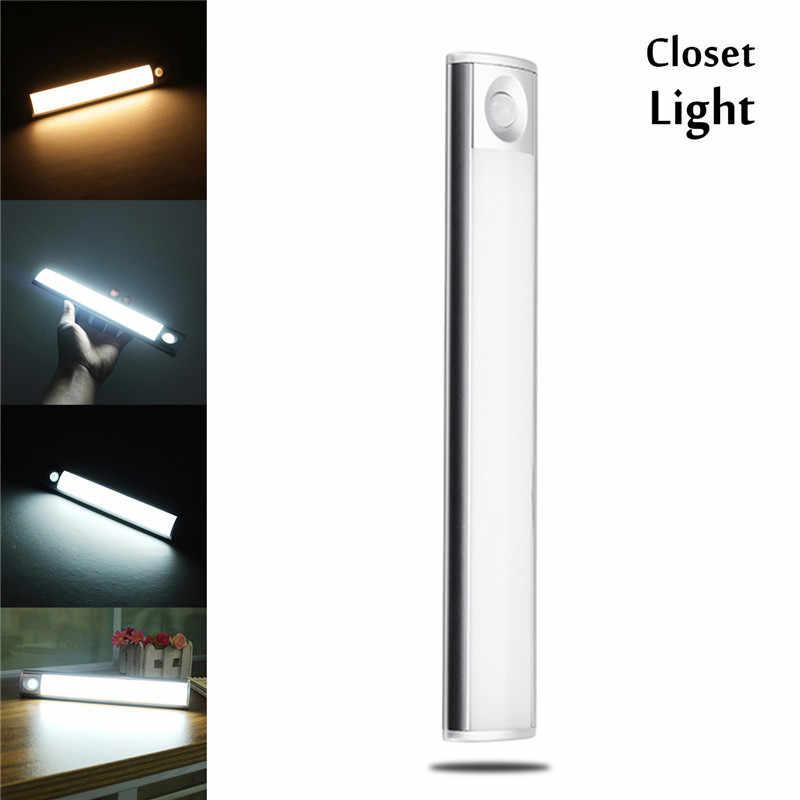 CLAITE LED キャビネットライト 33 LED SMD4014 USB 充電式モーションセンサーナイトライトキッチンキャビネット階段ワードローブ