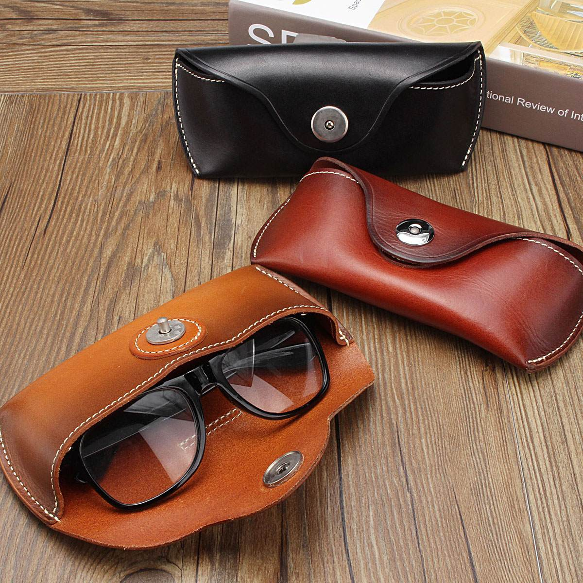 Cow Leather Eye Glasses Bag For Eyeglass High Quality Handmade Causal Jeans Belt Glasses Case Sunglasses Protector Case Black