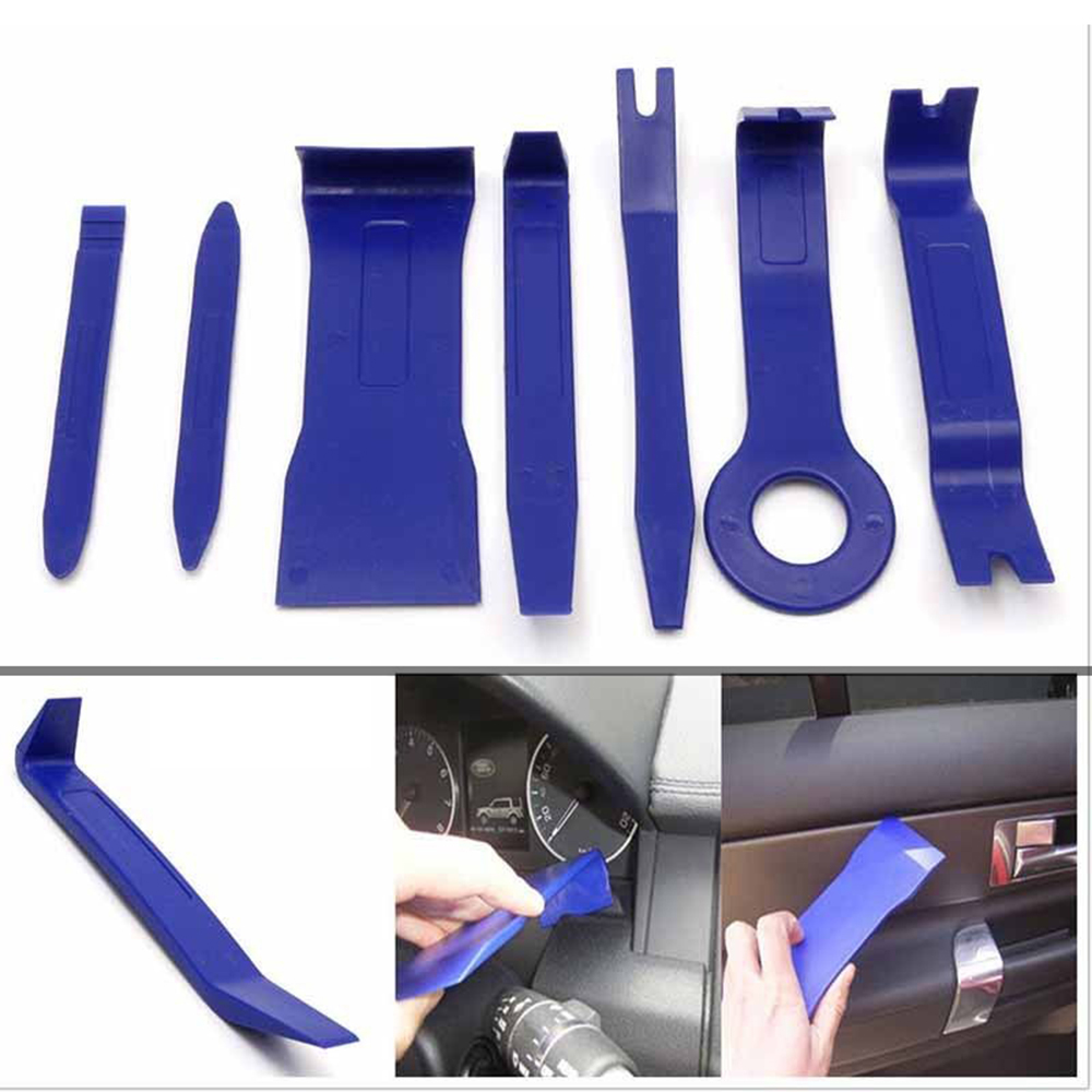 Professional 7Pcs Blue ABS Automobile Audio Door Clip Panel Trim Dash Auto Radio Removal Pry Tools Set Car Panel Removal Tool