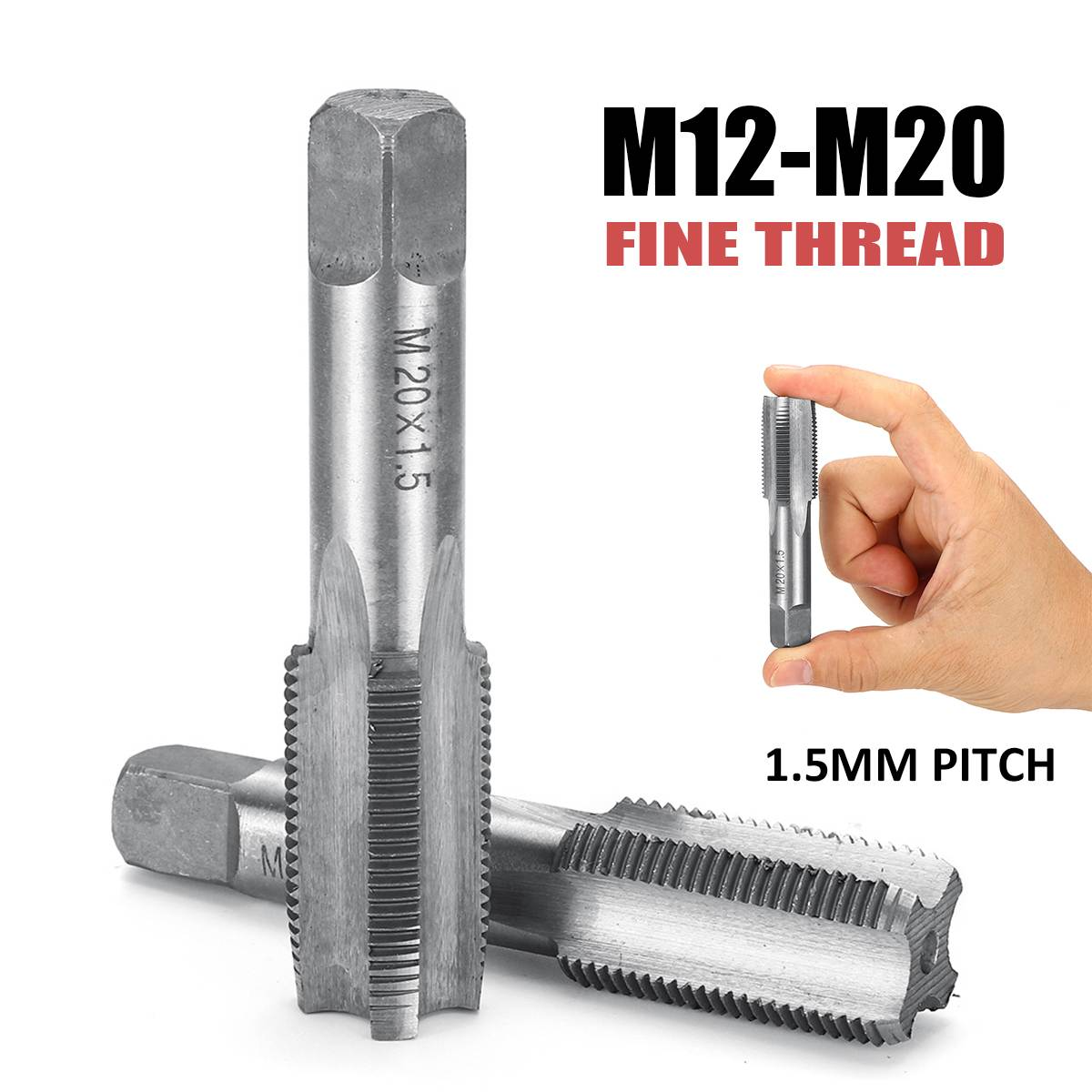 1 Pairs M12 M14 M16 M18 M20 Right Hand Machine Straight Fluted  Fine Thread Metric Plug Hand Tap Drill Set Hand Tools