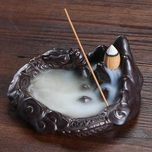 Rockery Backflow Incense Holder Smoke Waterfall Burner Ceramic Censer Mountain River Handicraft