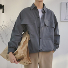 Succinct Korean Style Turn Down Collar Long Sleeves Mens Grey Shirt Fashion Pocket French Cuff Cotton Loose Shirts Camisa M-2XL