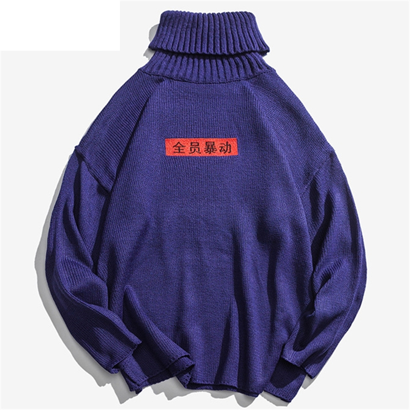 Dropshipping Letters Embroidery Turtleneck Knitted Men Sweaters Hip Hop Pullover Top Streetwear Male Loose Clothing 2019 Q0309