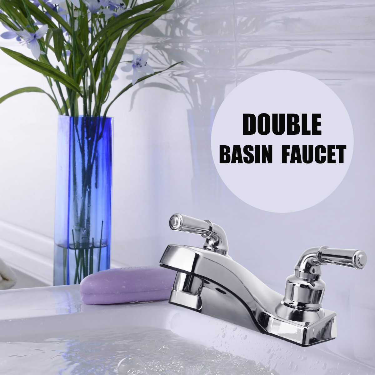 Xueqin PP Double Handle Basin Faucet Bathroom Basin Sink Faucet Double Hole Mixer Tap Cold And Hot Deck Mount For BathroomXueqin PP Double Handle Basin Faucet Bathroom Basin Sink Faucet Double Hole Mixer Tap Cold And Hot Deck Mount For Bathroom