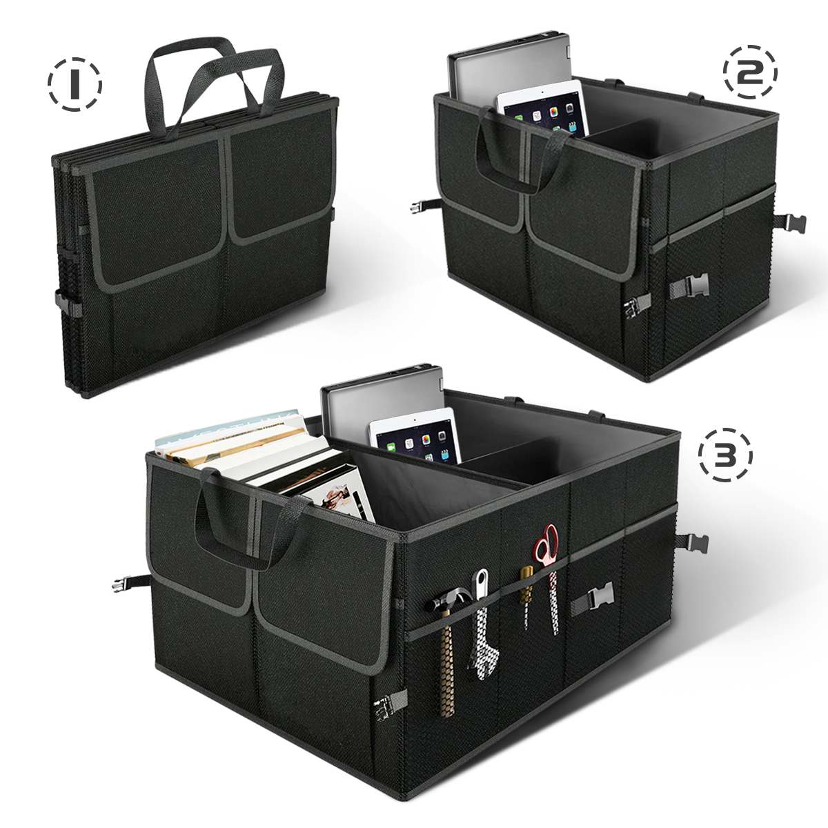 Foldable Car Trunk Storage Bag Box Black Tool Food Toys Goods Organizer Car Auto Interior Luggage Box Stowing Tidying Container