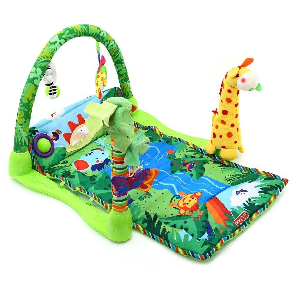 Musique bébé jouer tapis forêt tropicale activité jouer Gym jouet forêt doux tapis jouets avec Piano clavier tapis de jeu bébé ramper tapis jouets