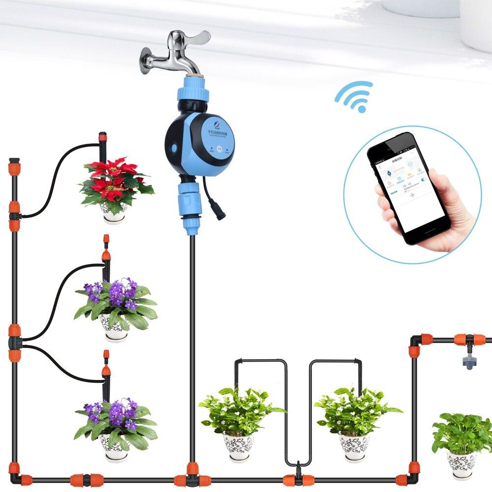 WIFI telefon zdalnego zegar podlewania wąż kran zegarem woda Gateway dotknij automatyczne zegar do nawadniania ogrodu adapter AC zasilany energią słoneczną w Liczniki ogrodowe do wody od Dom i ogród na  Grupa 1