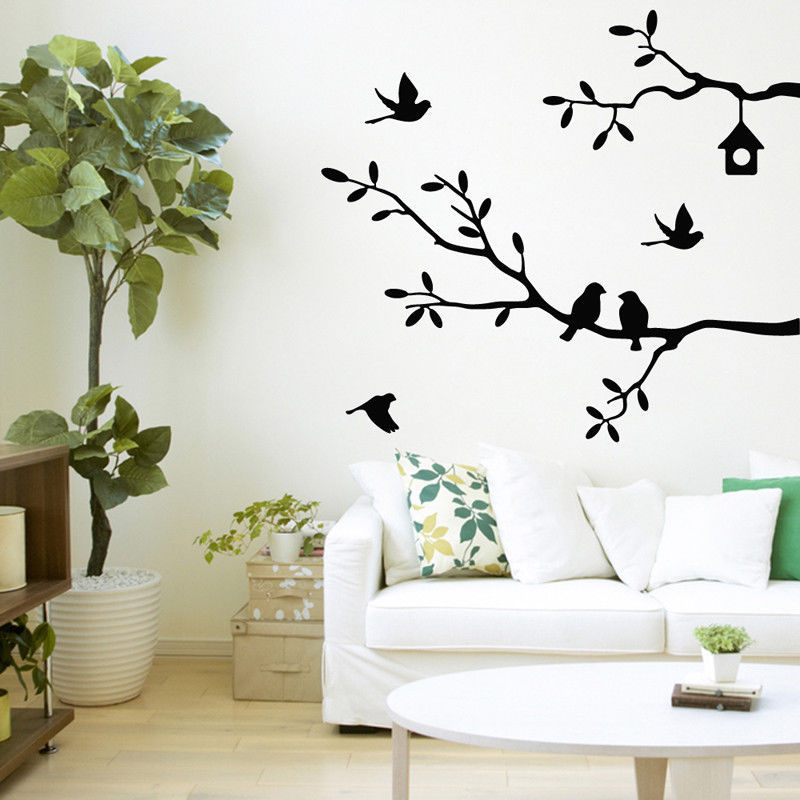 Self-Adhesive Bird Tree Vinyl Wall Stickers Decals Art Word Decoration Black/ White/ Pink/ Gray Home Office Wall Decor Sticker