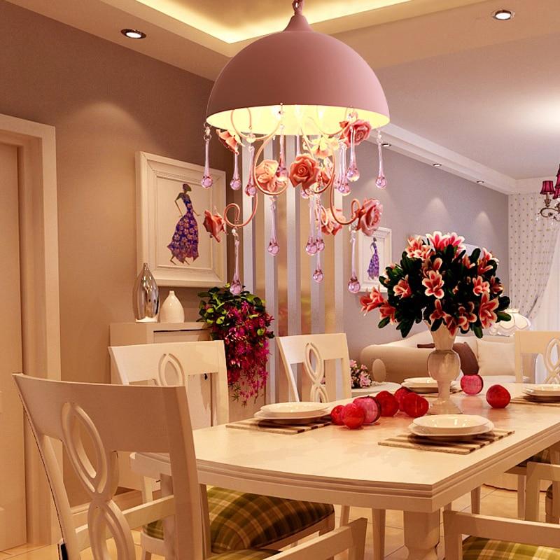 Lustre rose romantique eclairage pour fille chambre enfant princesse rose éclairage mariage chambre dressing éclairage maison