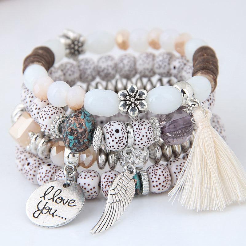 Женские богемные браслеты с бусинами, многослойные браслеты в стиле бохо с кисточками в виде цветов и листьев, 2020