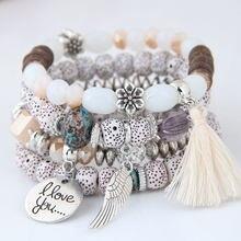 Boêmio pulseira envoltório contas bracelete, feminino boho flor folha borla pulseira multicamada bracelete femme 2020 novo