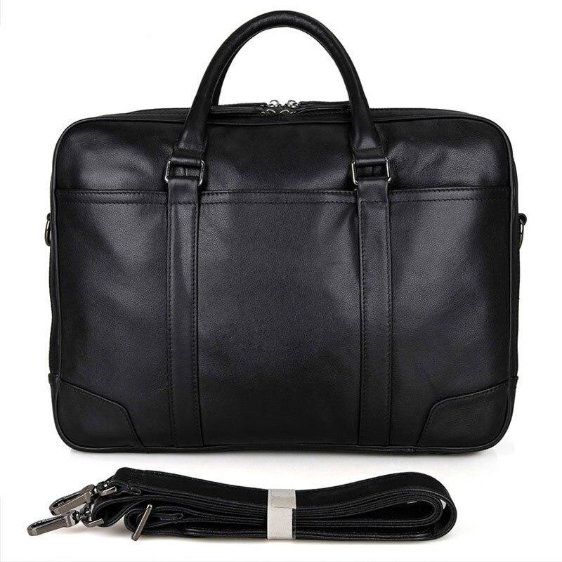 Leather Men's Handbag Business 15 Inch Computer Bag 770-40 Genuine Leather Cowhide Men Handbag Large Capacity Male Black