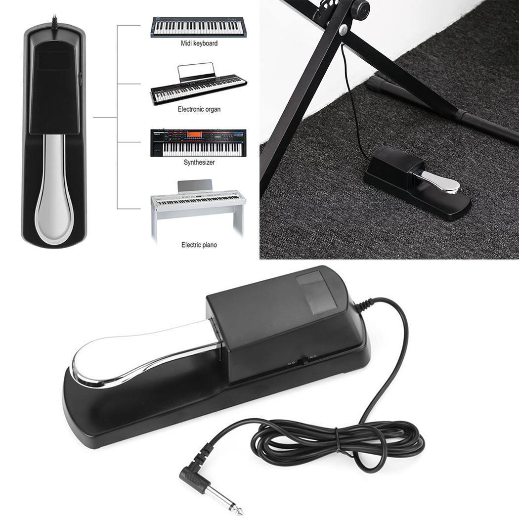Black Electric Piano Sustain Pedal Metal 0.5kg 1.5m General Sustain Pedal 6.35mm