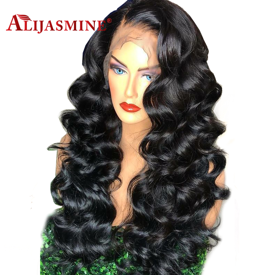 Loose Wave Lace Front Human Hair Wigs Pre Plucked With Baby Hair High 180 Density Brazilian