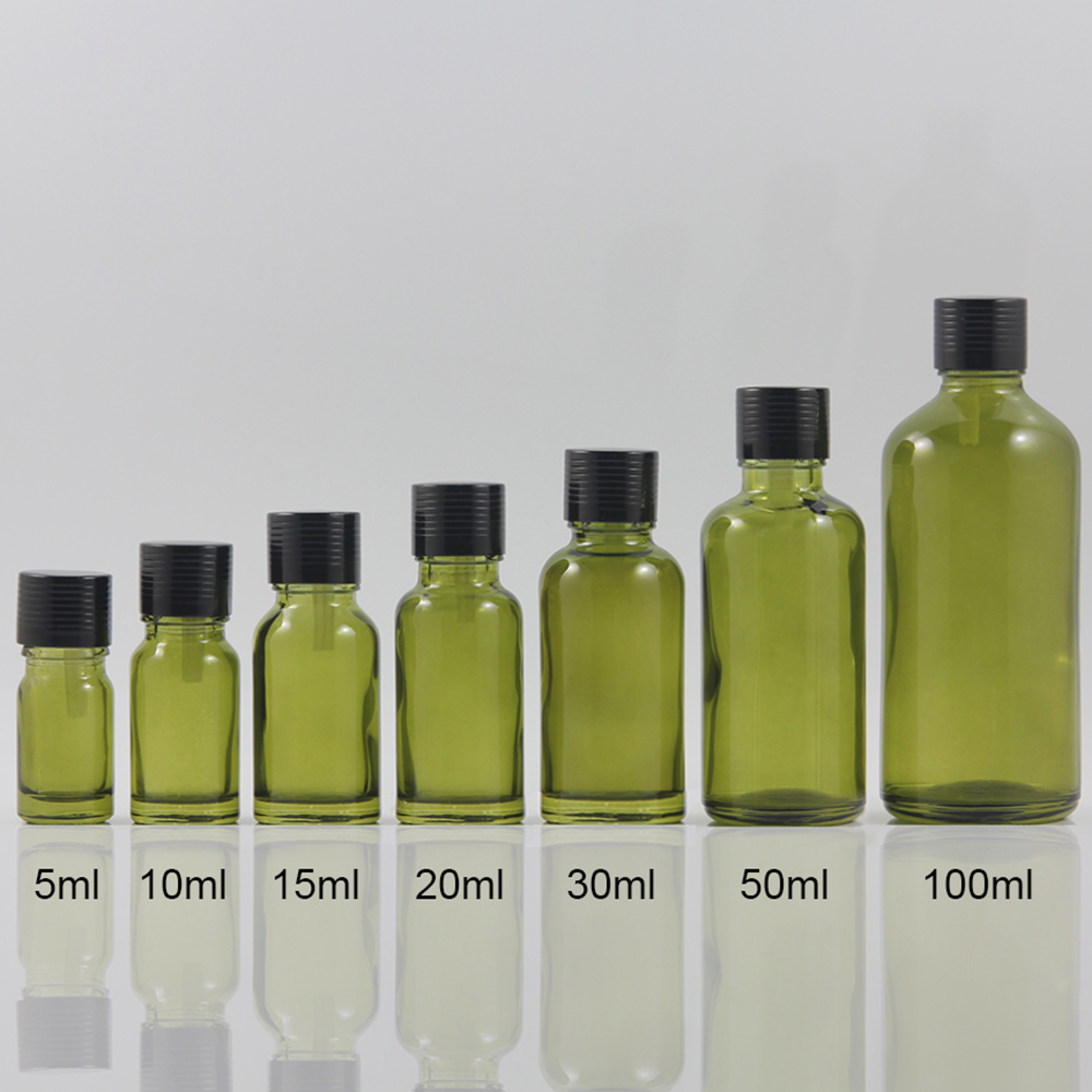 Empty Round luxury cosmetic packaging bottle 10ml glass essential oil, Olive colour spray bottle 10ml