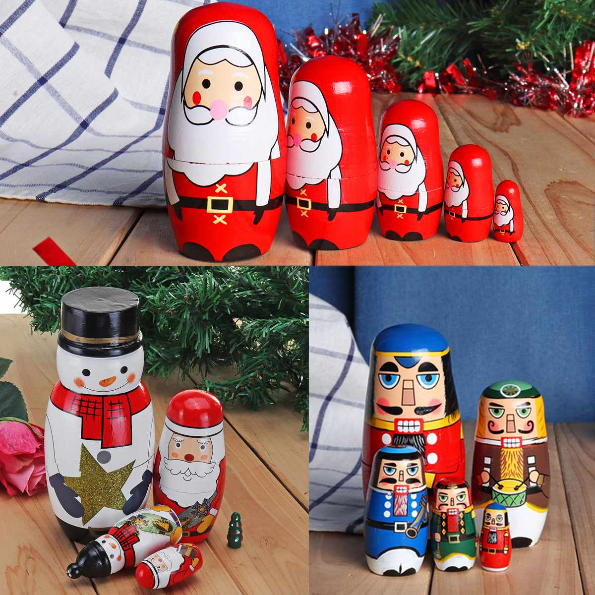Russo matryoshka bonecas artesanal christams santa aninhamento bonecas conjunto matryoshka bonecas brinquedos decoração para casa crianças presente de natal