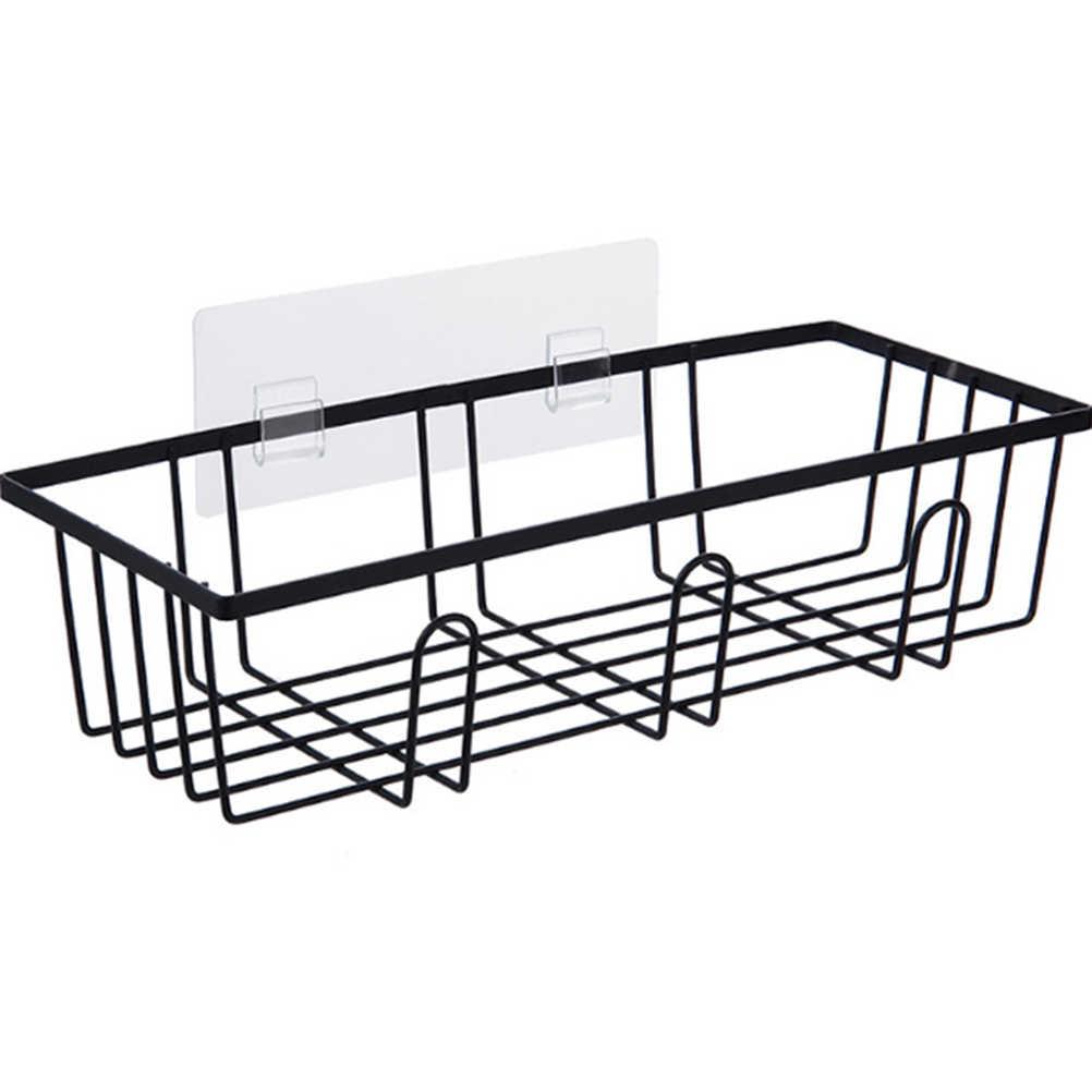 1pc trwałe żelazko bez wiertła zasysanie próżniowe koszyk pod prysznic półka Caddy mydelniczka do łazienki domu kuchnia wc (czarny)