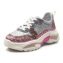 Spring Women Crystal Bling Sneakers 2019 Blue Pink Chunky Platform Dad Shoes Casual Running Female