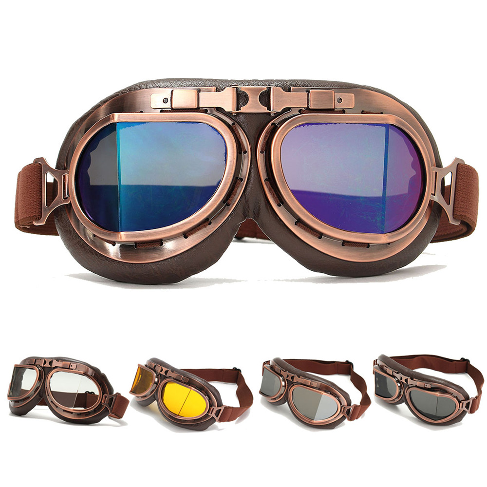 Vintage Motorcycle Pilot Universal Helmet Steampunk Copper Motorbike Scooter Glasses Goggles Anti UV Protective Gears