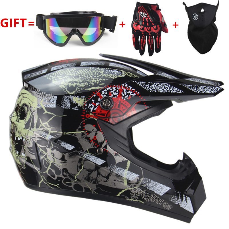 Kostenloser Versand kreuz moto rcycle helm herren moto helm Downhill MTB DH off road moto kreuz racing helm DOT with3 geschenke