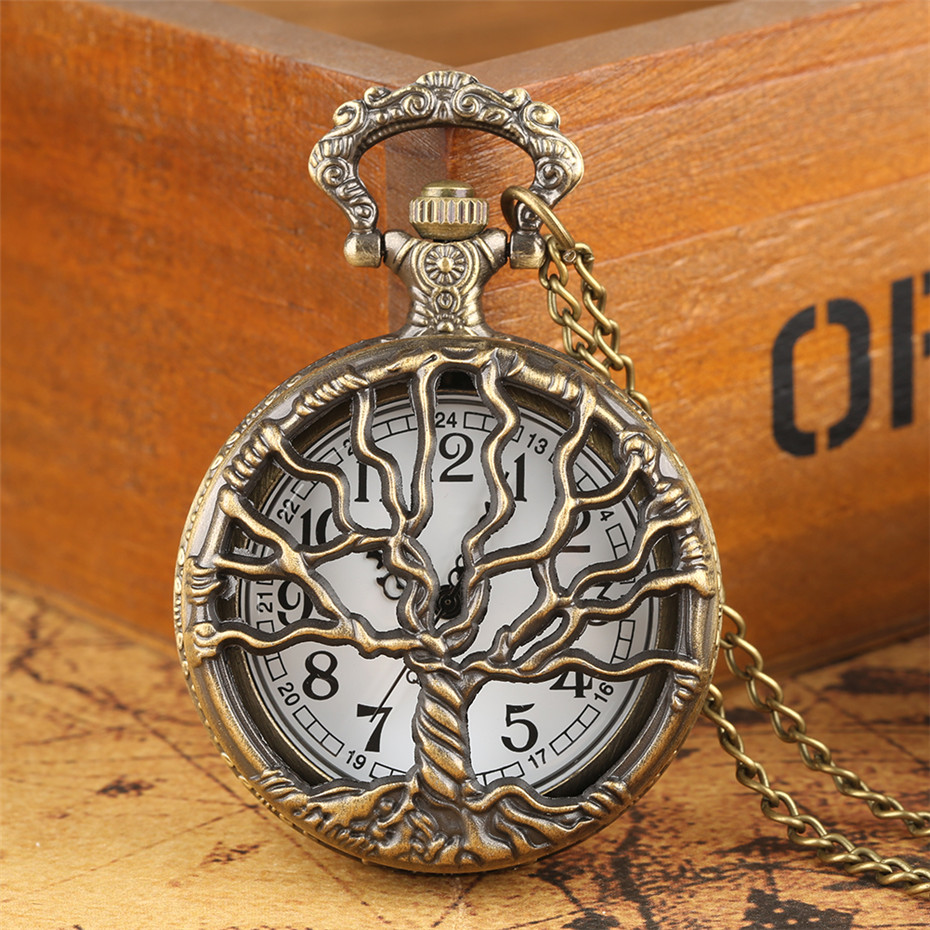 Hollow Retro Pocket Watch Necklace Chain Half Hunter Bronze Big Tree Design Pendant Clock Old Fashion Fob Pocket Watch Reloj