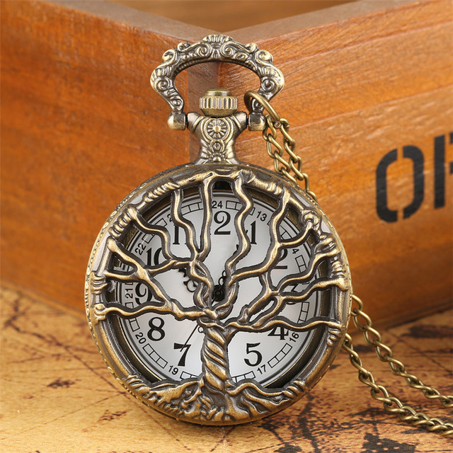Hollow Retro Pocket Watch Necklace Chain Half Hunter Bronze Big Tree Design Pend