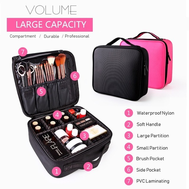2019 Professional Toiletry Bag Cosmetic Bag Organizer Women Travel Make Up Cases Big Capacity Cosmetics Suitcases For Makeup X32 5