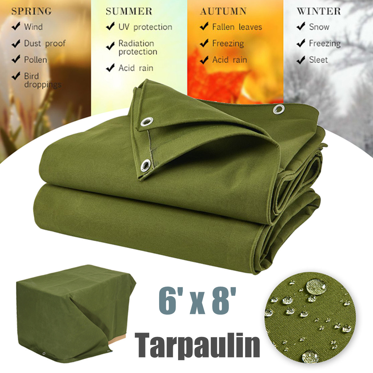 Large Waterproof Canvas Sunshade Cloth Canopy Tarp Tarpaulin Dustproof Shelter Outdoor Awning Accessories Green 6x8FT/1.8mx2.4m
