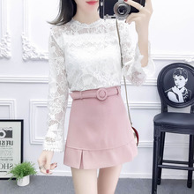 spring new institute of leisure suit horn sleeve lace tops & a-line skirts shorts belt waist women  2 pcs clothing set girl SML