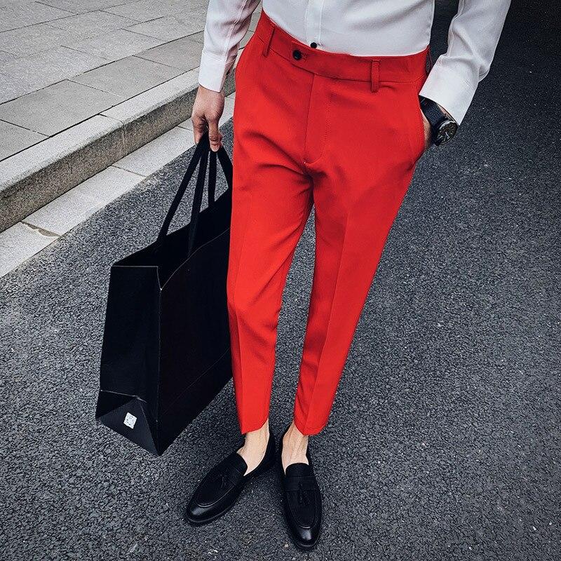 Business Slim Fit Formale Hosen Herren Anzug Hosen Pantalon Mode Büro Kleid Hosen Mens Formal Hosen Grau Pantaloni Tuta Herren SchüTtelfrost Und Schmerzen