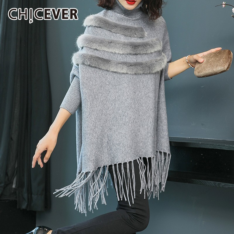CHICEVER Autumn Winter Sweater For Women Turtleneck Batwing Sleeve Loose Tassel Pullovers Tops Female Fashion Casual