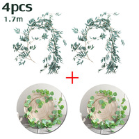 2pcs Artificial Eucalyptus Leaves Vine+2pc Simulated Willow Leaf Rattan Home Garden Decor
