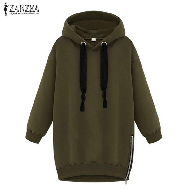 ZANZEA 2019 Women Sweatshirts Hooded Hoodies Female Spring Side Zipper Fleece Pullovers Hoody Femme Jumpers Casual Tops Plus