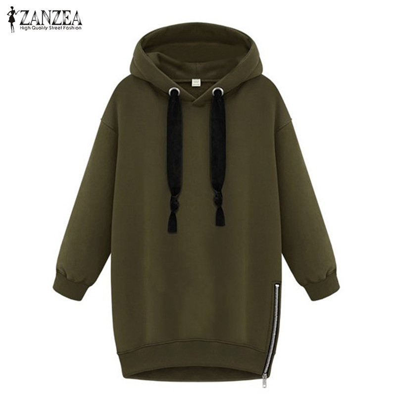 ZANZEA 2020 Women Sweatshirts Hooded Hoodies Female Spring Side Zipper Fleece Pullovers Hoody Femme Jumpers Casual Tops Plus