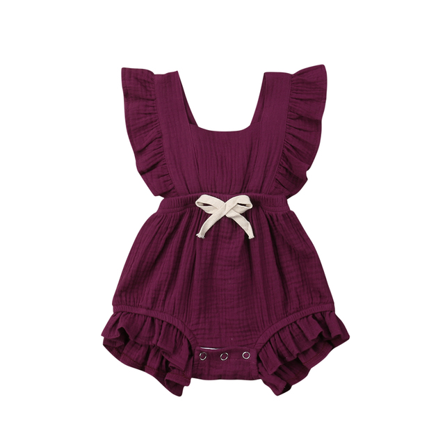6 Color Cute Baby Girl Ruffle Solid Color Romper  Jumpsuit Outfits Sunsuit for Newborn Infant Children Clothes Kid Clothing 5