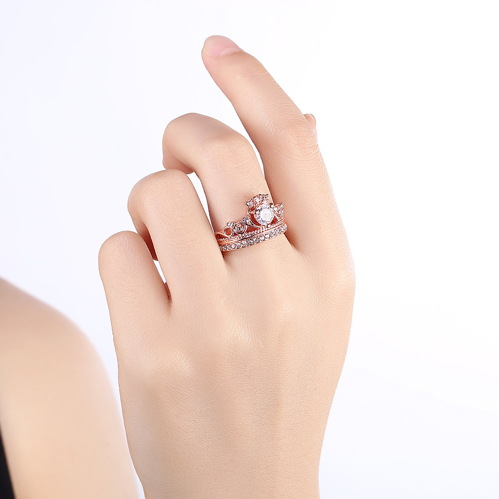 Princess Crown Diamond Ring Luxury 18K Rose Gold Bizuteria For Women 39 s Wedding AAA Crystal Ring anillos de Jewelry Diamante 2019 in Rings from Jewelry amp Accessories