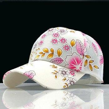 00d6ec3b42a6 2019 gorra de béisbol Simple para mujer con bordado de flores para niñas,  sombreros para mujer, gorra de malla para el sol de verano