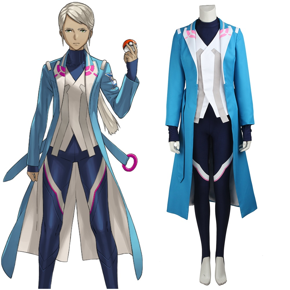 Pokemon Go Pocket Monster Team Mystic Trainer Blanche Cosplay Costume