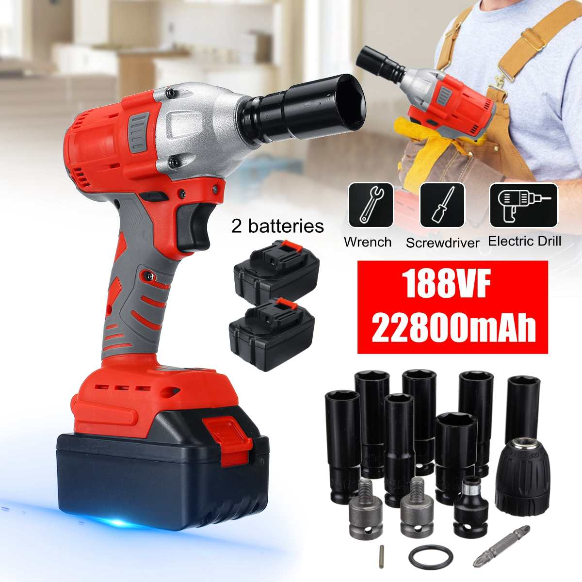 128VF/188VF Rechargeable Electric Cordless Impact Drill Driver Kit Powerful Combo Kits Screwdriver Power tools with 1/2 battery