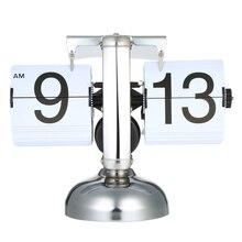 Маленькие настольные часы Ретро Флип-часы из нержавеющей стали Флип внутренний механизм управляемые кварцевые часы домашний стол настольный декор