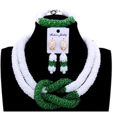 hot deal buy 4ujewelry fine jewelry sets for women wedding jewellery set bridal jewelry white and green  pics bracelet earrings & necklace